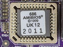 the basic input/output system (bios) is stored on a rom chip on motherboard