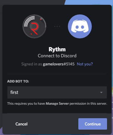 Select server on which you want to install Rythm music bot.