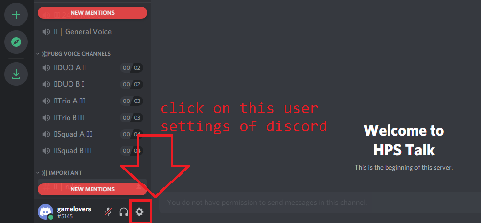 go to user settings in discord