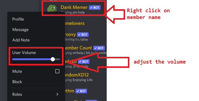 how to lower discord volume for individual user