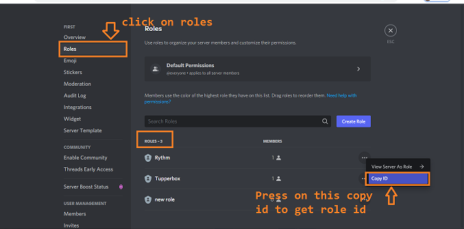 how to get discord get role id